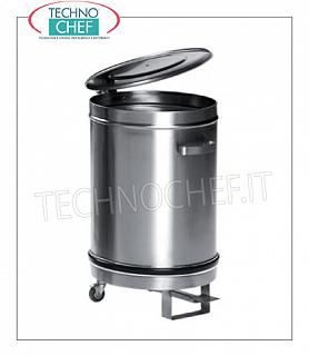 Stainless steel dustbin Trolley stainless steel dustbin with pedal cover, capacity 50 liters, diameter mm.390x600 h