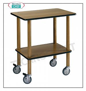 Wooden service carts Gueridon trolley with uprights in evaporated beech, walnut tops and rubber edge, 4 swivel wheels, n. 2 floors, dimensions 700x450x800h