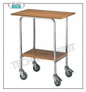 Wooden service carts Gueridon trolley with stainless steel uprights, melamine tops and 2 braking wheels, n. 2 floors, dimensions 700x450x800h