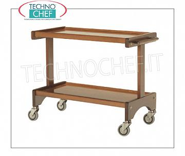 Wooden service carts Room service trolley in evaporated beech wood with 2 braking wheels, n. 2 shelves, dimensions 1050x500x800h