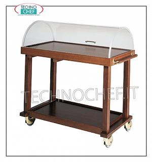 Trolleys for desserts and cheeses Trolley for desserts, cheeses and appetizers with semi-cylindrical dome with frame and 2 solid wood shelves, dimensions mm 1000x500x1000h