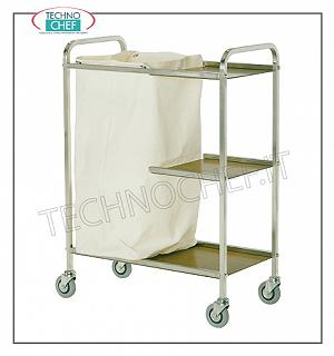 Laundry trolleys Service trolley on the floors, with 1 laundry bag and 3 shelves