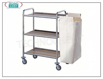 Laundry trolleys Service trolley on the tops, stainless steel frame, laminated tops, 1 outer bag and 2 braking wheels, N 3 shelves, dimensions 80x40x104h cm