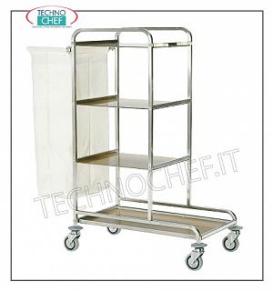Laundry trolleys Service trolley on the floors, with 1 external laundry bag, 3 intermediate shelves and large base