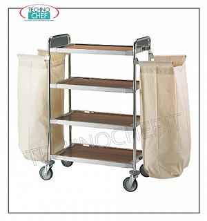 Laundry trolleys Service trolley on the floors, with 2 external laundry bags and 4 shelves