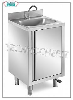 Stainless steel hand basin with hinged door and pedal control Stainless steel hand basin on cupboard with hinged door, semicircular bowl, complete with: pedal control with dispenser, dimensions mm. 500x400x850h