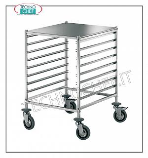 Trolleys for 8 trays or Gastronorm basins 2/1 or 16 GN 1/1 trays Trolley with 8 Anti-rollover guides for 8 Gastro-Norm 2/1 trays (530x650 mm) - or 16 Gastro-Norm 1/1 trays (325x530 mm) with shelf, dim. mm 690x600x880h