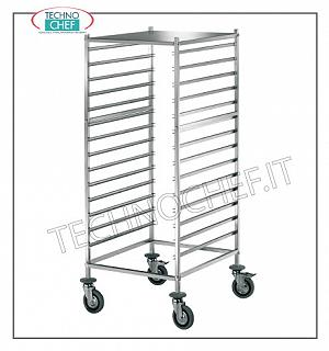 Trolleys for trays / Gastronorm basins Trolley with 14 Anti-overturning guides for Gastro-Norm 1/1 - 2/1 trays and upper support surface