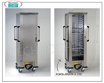 Temperature maintainer, HOT MAINTENANCE Trolley, Ventilated for 20 Trays 600x400 mm HOT temperature maintainer trolley with VENTILATED HEATING, 1 Door, for 20 PIZZA Pans or PASTRY mm 600x400, STEP between the GUIDES mm 73, V. 230/1, Kw 2.0, Dimensions mm 770x750x2000h