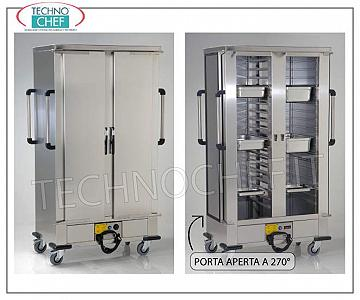 Temperature maintainer, Ventilated HOT cart for 24 GN or EN 1/1 HOT MAINTENANCE trolley with VENTILATED HEATING, 2 Doors, for 24 Gastro-Norm, Euro-Norm or 600x400 trays, Pitch between Guides 120 mm, V. 230/1, Kw 3.0, Dimensions mm 1320x750x2000h