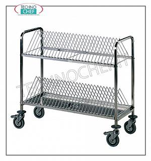 Cartridge trolleys Tray trolley, AISI304 stainless steel supporting structure, equipped with 2 stainless steel shelves with a capacity of 60 trays, 4 swivel wheels, 2 with brake, rubber bumper, dim cm. 108x45x95h