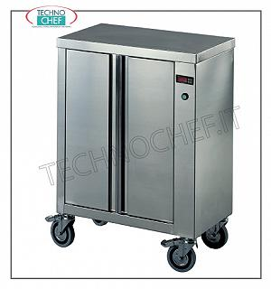 Hot plate carts Plate warmer trolley, built entirely in insulated stainless steel, available in two different models