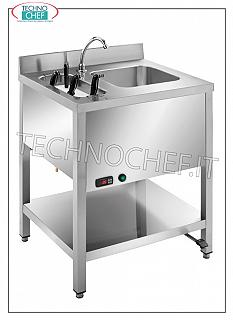 Stainless steel hand basin on legs with knife sterilizer and pedal control STAINLESS STEEL HAND WASHBASINS with IMMERSION KNIVES STERILIZER, version on legs with lower shelf, complete with PEDAL CONTROL and REGULATOR, dimensions mm 700x500x850h