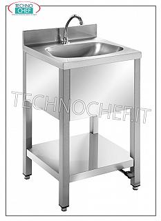 Stainless steel hand basin on legs with lower shelf and backsplash, complete with pedal control Stainless steel hand basin on legs with lower shelf and backsplash, semicircular bowl, complete with pedal control with dispenser, dimensions mm. 500x450x850h