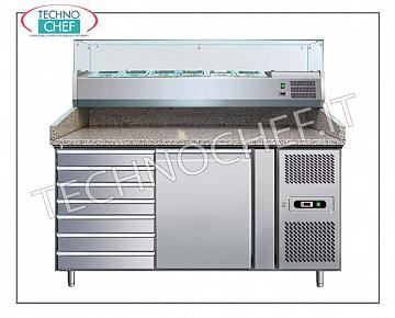 Pizza counters with refrigerated display cabinet, chest of drawers and 1 refrigerated compartment REFRIGERATED PIZZA BENCH with 1 DOOR and 1 PORTAPAGNOTTINE CHEST OF DRAWERS, temp. + 2 ° / + 8 ° C, complete with refrigerating unit, GRANITE and DEEP SHOWCASE 335 mm. for 7 GN 1/4 pans, V 230/1, Kw 0.35, dim. mm. 1510x800x1435h.