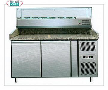 Pizza counter with 2 doors and showcase ingredients REFRIGERATED PIZZA BENCH with 2 DOORS, + 2 ° / + 8 ° C, complete with refrigerating unit, GRANITE and DEEP SHOWCASE 335 mm. for 7 GN 1/4 pans, V 230/1, Kw 0.35, dim. mm. 1510x800x1435h.