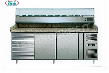 Pizza Counter with 2 Doors, Chest of Drawers and Showcase Ingredients Refrigerated pizza counters with 2 DOORS and CHEST OF DRAWERS, version with horizontal refrigerated DISPLAY for pizza ingredients DEEP mm 395 and 335 mm