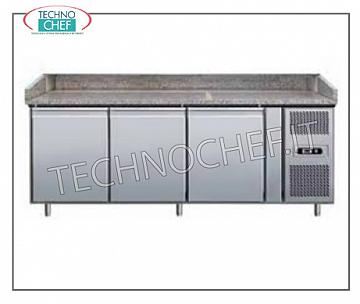 Full pans without drawer REFRIGERATED BANCO PIZZA with 3 DOORS, temperature + 2 ° / + 8 ° C, complete with refrigerant unit, GRANITE floor, V 230/1, Kw 0,28, dim. mm. 2020x800x1015h.