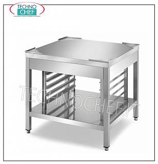 Bases for ovens Base support in stainless steel for oven on legs, with lower shelf and guides for 7 insertion Gastro-Norm 2/1 h 60 mm., Dim. mm. 800x800x720 h.