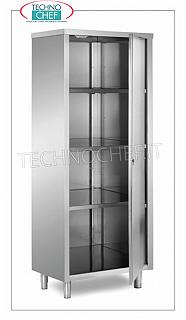 Stainless steel 304 tableware cabinet with hinged door and 3 intermediate shelves, 70 cm deep Stainless steel storage cabinet with hinged door and 3 intermediate shelves adjustable in height, dimensions 600x700x1700h mm