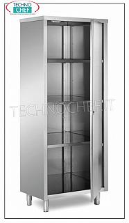 Stainless steel 304 tableware cabinet with hinged door and 3 intermediate shelves, 60 cm deep Storage cupboard with 1 hinged door and 3 intermediate shelves adjustable in height, dimensions 700x600x1700h mm
