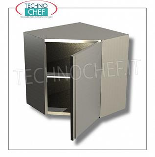 Corner 304 stainless steel wall cabinet with hinged door and intermediate shelf, CORNER CABINET in AISI 304 Stainless Steel with HINGED DOOR and intermediate shelf, dimensions mm.700x700x650h
