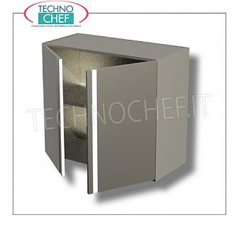 304 stainless steel wall cabinet with hinged door and intermediate shelf, AISI 304 STEEL wall cabinet with 1 swing door and adjustable intermediate shelf, dimensions mm.400x400x650h