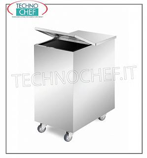Hoppers on wheels for flour and sugar STAINLESS STEEL HOPPER, with EXTRACTABLE CENTRAL DIVIDING to form 2 COMPARTMENTS, capacity 50 + 50 liters, SQUARE CORNERS, complete with removable FOLDING LID, dimensions 375x560x700h mm