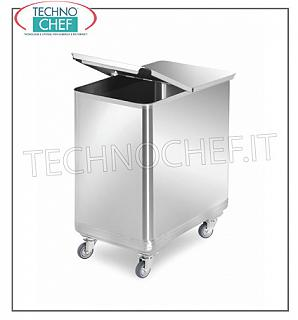 Hoppers on wheels for flour and sugar STAINLESS STEEL HOPPER, capacity 110 liters, ROUNDED CORNERS, complete with removable FOLDING LID, dimensions 375x660x700h mm