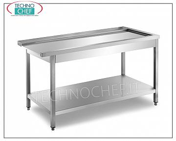 Service tables for hood type dishwashers DISHWASHER OUTPUT TABLE with LEFT-HOOK machine, SHAPED TABLE FOR BASKET SLIDING, lower shelf, dimensions mm. 800x700x850h