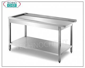 Service tables for hood type dishwashers DISHWASHER OUTPUT TABLE with machine HOOK RIGHT, SHAPED TABLE for BASKET SLIDING, lower shelf - dimensions mm. 800x700x850h