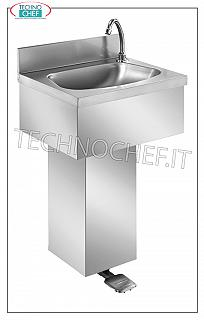 Stainless steel hand basin with pedestal and foot control, installable on the wall Wall-mounted stainless steel hand basin with upstand, semicircular basin complete with pedal control with dispenser and column casing, dimensions, mm. 500x400x800h