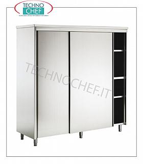 Stainless steel 304 crockery cupboard with sliding doors and 3 intermediate shelves, 70 cm deep Storage cupboard with 2 sliding doors and 3 intermediate shelves adjustable in height, dim. mm 1200x700x1700h