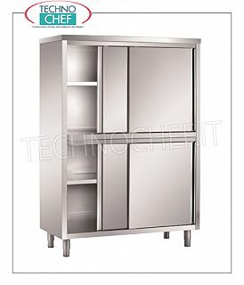 Stainless steel 304 tableware cabinet with 4 half sliding doors, 50 cm deep Storage cupboard with 4 half sliding doors and 2 intermediate shelves adjustable in height, dim. mm 1000x500x1700h