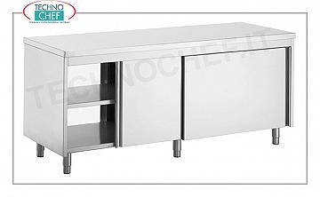 Stainless steel pass-through table with sliding doors on the 2 fronts, Line 700 Neutral cupboard with sliding doors on both sides and adjustable middle shelf, dim. 1000x700x850h mm