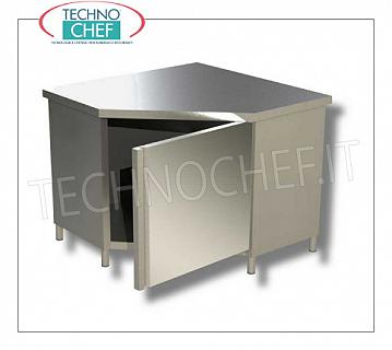 AISI 304 stainless steel cupboard with corner with hinged door, Line 600 Corner cupboard with hinged door, Line 600, dim.mm 1000x1000x850h
