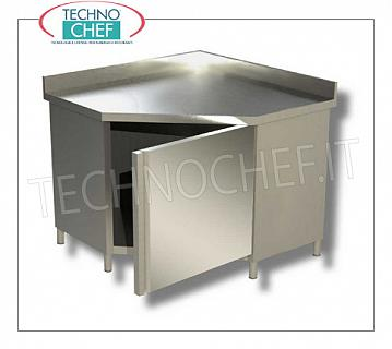 AISI 304 stainless steel cupboard, corner with hinged door and upstand, Line 700 Corner cupboard table with hinged door and upstand, Linea 700, dim.mm 1000x1000x850h