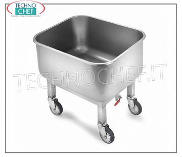 Wheeled tub for soaking on wheels, dimensions mm. 600x500x600h Soaking tub with removable grill, on wheels, with drain cock, dimensions mm 600x500x600h