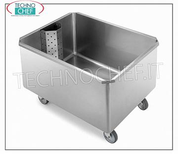 Wheeled tub with removable grill and drain cock, dimensions mm. 800x600x750h Soaking tub with removable grill, on wheels, with drain cock, dimensions 800x600x750h mm