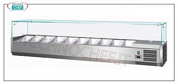 Refrigerated counter display, 1200x335 mm for 5 GN 1/4 containers STAINLESS STEEL horizontal REFRIGERATED SHOWCASE for PIZZA INGREDIENTS, version with straight glass, temp. + 2 ° / + 8 ° C, line with DEPTH 335 mm. for 5 GN 1/4, V 230/1, Kw 0.34, dim. mm. 1200x335x435h.