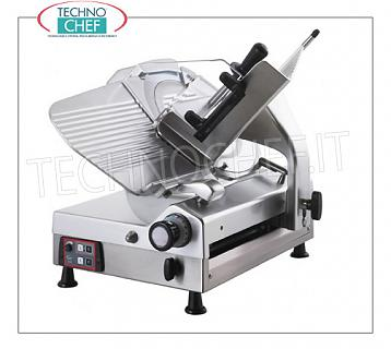 TECHNOCHEF - Automatic Gravity Slicer, blade Ø 350 mm, Professional, Mod.CXMATIC35E Automatic gravity slicer with gear transmission, blade diameter 350 mm, V.230 / 1, Kw.0.45, Weight 61 Kg, dim.mm.760x650x620h