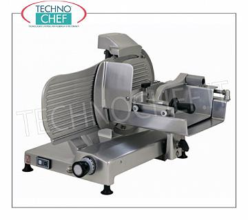 TECHNOCHEF - Vertical Meat Slicer with gears, blade Ø 350 mm, Professional, Mod.H35S Vertical meat slicer in aluminum alloy, gear transmission, blade diameter 350 mm, V.230 / 1, Kw 0.30, Weight 50 Kg, dim.mm.710x670x550h