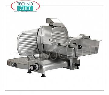 TECHNOCHEF - Vertical Meat Slicer with gears, blade Ø 370 mm, Professional, Mod.H37S Vertical slicer for meat in aluminum alloy, gear transmission, blade diameter 370 mm, V.230 / 1, Kw 0.30, Weight 57 Kg, dim.mm.800x750x570h