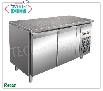 Forcar - 2 Doors Refrigerated Table, Temp. -2 ° / + 8 ° C, lt. 413, Ventilated, Class B, model G-PA1500TNGR7 2 Doors Refrigerated Table with Granite Top and Neutral Drawer, Professional, Pastry Trays 600x400 mm, capacity lt. 413, temp.-2 ° / + 8 ° C, Ventilated, ECOLOGICAL in Class B, Gas R290, V.230 / 1 , Kw.0,3, Weight 242 Kg, dim.mm.1505x800x870h