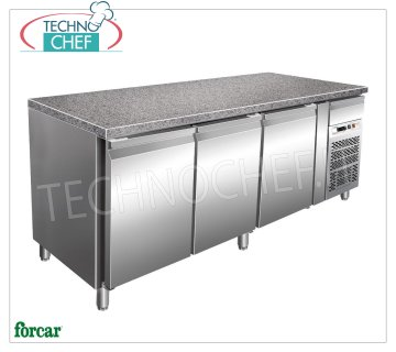 Forcar - 3 Doors Refrigerated Table, Temp. -2 ° / + 8 ° C, lt. 613, Ventilated, Class C, model G-PA2000TNGR7 3 Doors Refrigerated Table with Granite Top and Neutral Drawer, Professional, Pastry Trays 600x400 mm, capacity lt. 613, temp. -2 ° / + 8 ° C, Ventilated, ECOLOGICAL in Class B, Gas R290, V.230 / 1 , Kw.0,3, Weight 300 Kg, dim.mm.2005x800x870h