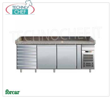 Forcar - Refrigerated pizza counter 2 DOORS + DRAWER, Ventilated, Class B, mod.G-PZ2610TN Refrigerated pizza counter 2 DOORS + DRAWER, granite top with upstand on 3 sides, temperature + 2 / + 8 ° C, V.230 / 1, Ventilated, ECOLOGICAL in Class B, Gas R290, Kw. 0.26, Weight 362 Kg, dim.mm.2025x800x1000h