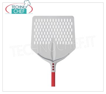 TECHNOCHEF - Aluminum Square Pizza Pad with Aluminum Tulip 36x36 cm QUADRA FORATA pizza shovel Tulip in anodised aluminum, dim.cm. 36x36, handle length 1.20 m.