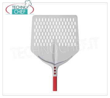 TECHNOCHEF - Aluminum Square Pizza Pad with Aluminum Tulip cm 41x41 QUADRA FORATA pizza shovel Tulip in anodised aluminum, dim.cm. 41x41, handle length 1.20 m.