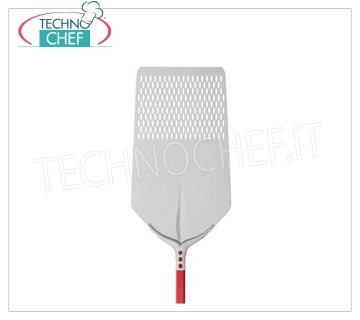 TECHNOCHEF - Rectangular Perforated Pizza Shovel Tulip in Aluminum 30x60 cm Perforated RECTANGULAR pizza shovel Tulip in anodized aluminum, dim.cm.30x60, handle length mt.1,20.