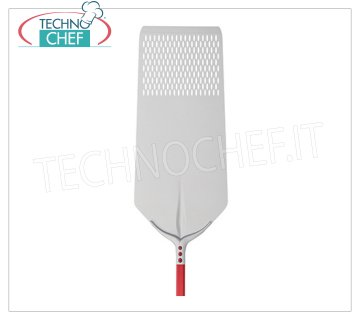 TECHNOCHEF - Rectangular Perforated Pizza Shovel Tulip in Aluminum 30x80 cm Perforated RECTANGULAR pizza shovel Tulip in anodized aluminum, dim.cm.30x80, handle length mt.1,20.